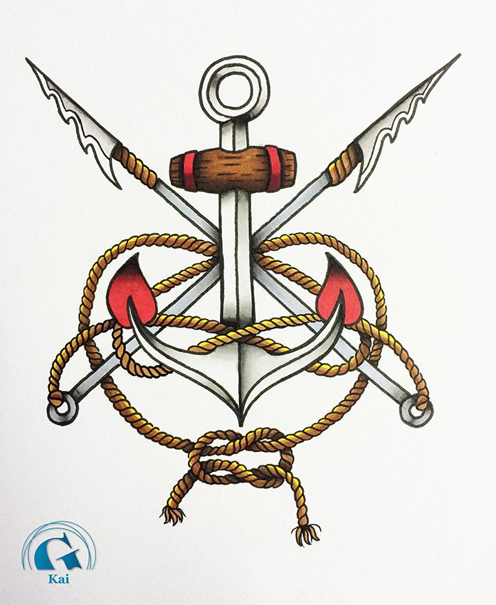 A la d couverte de kai jeune tatoueur en devenir graphicaderme - Ancre marine dessin ...
