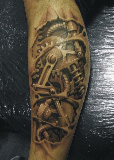 tatouage biomÉcanique sur un bras par steven chaudesaigues