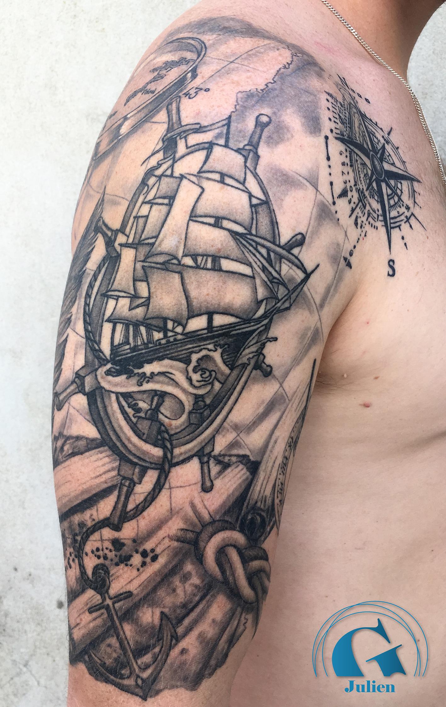 un bras marin pour un passionné - graphicaderme tattoo