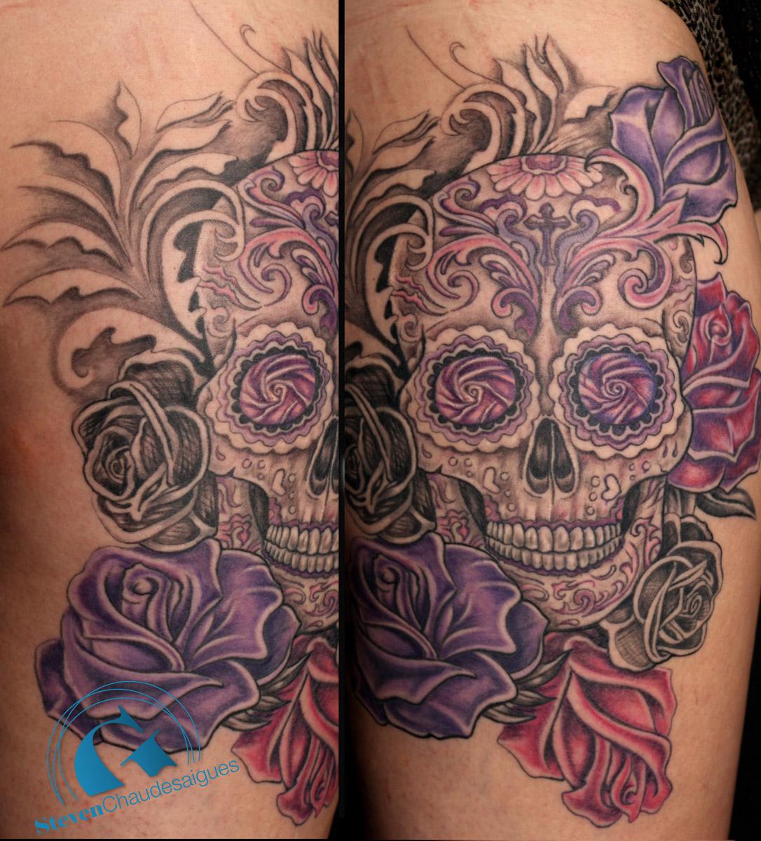 tatouage cr ne calavera par steven chaudesaigues. Black Bedroom Furniture Sets. Home Design Ideas