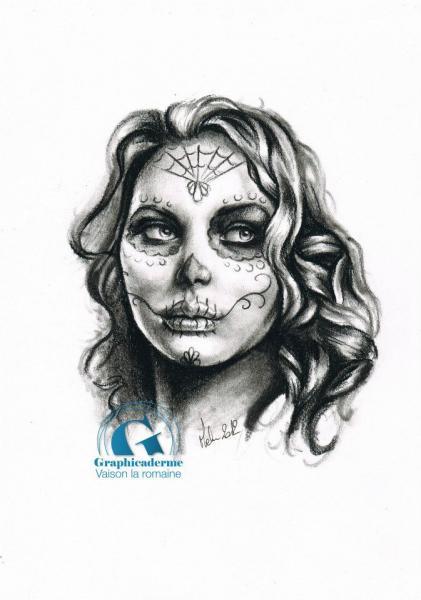 Pin dessin de portrait femme calavera realiste pour tatouage vaison la on pinterest - Tatouage pour femme ...