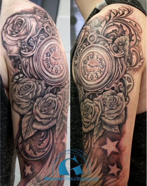 tatouage d 39 une horloge avec des roses graphicaderme. Black Bedroom Furniture Sets. Home Design Ideas