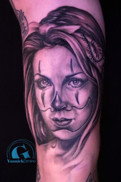 Chicanos Women Tattoo Mexique Femme Portrait Dessin La