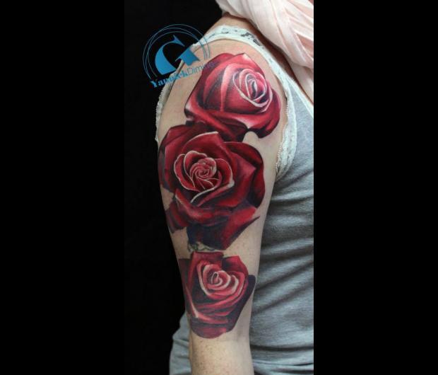 idee,tatouage,bras,femme,rose,couleur