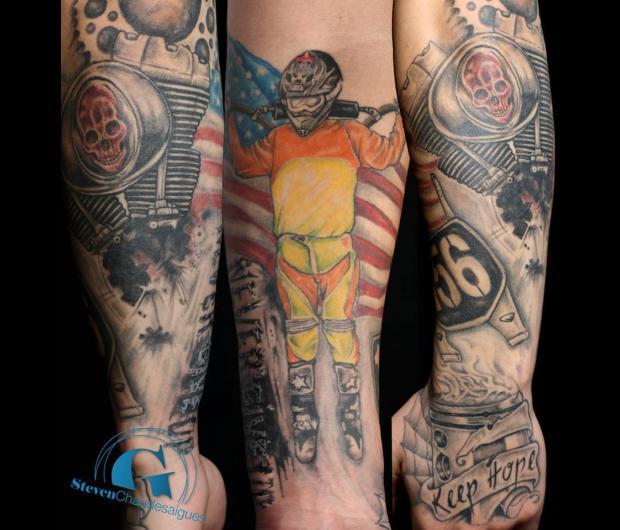 image,tatouage,bras,moteur,moto