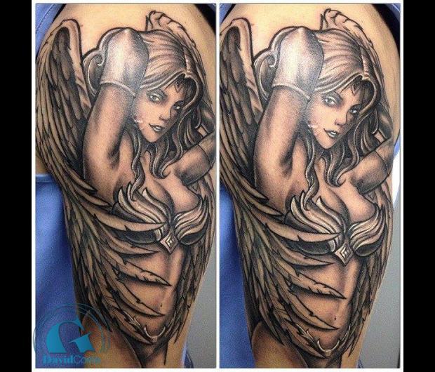 modele,tatouage,ange,femme,sexy