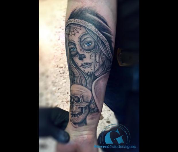 Tatouage chicano graphicaderme - Santa muerte tatouage signification ...