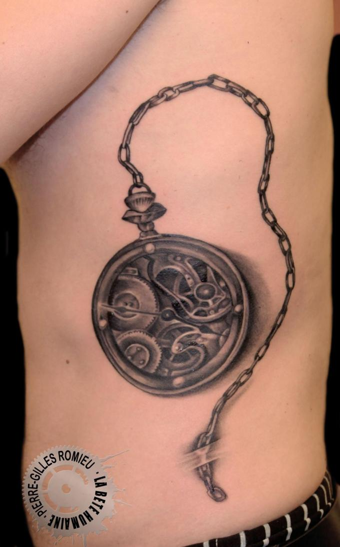 Tatouage montre gousset graphicaderme - Montre a gousset tattoo ...