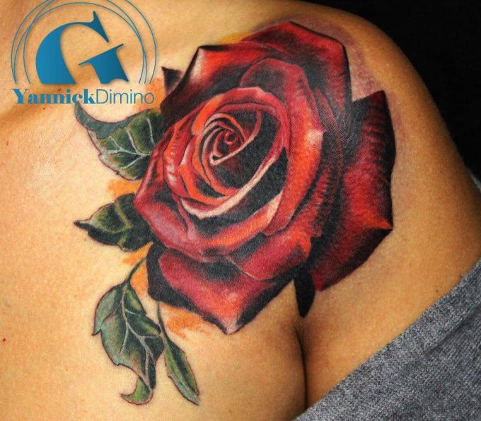 Tatouage rose graphicaderme - Tatouage fleur couleur ...