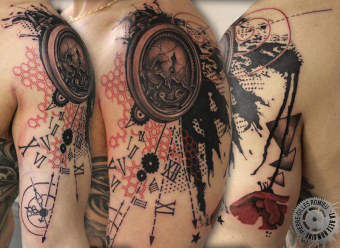 Tatouage Old School Homme Horloge Tattoo Art