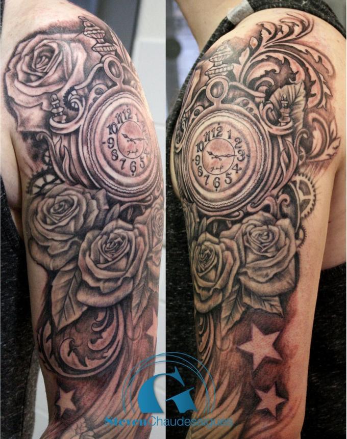 deux tatouages bras sur la mesure du temps par steven chaudesaigues graphicaderme. Black Bedroom Furniture Sets. Home Design Ideas