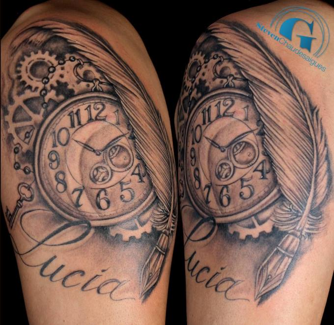 deux tatouages bras sur la mesure du temps par steven. Black Bedroom Furniture Sets. Home Design Ideas