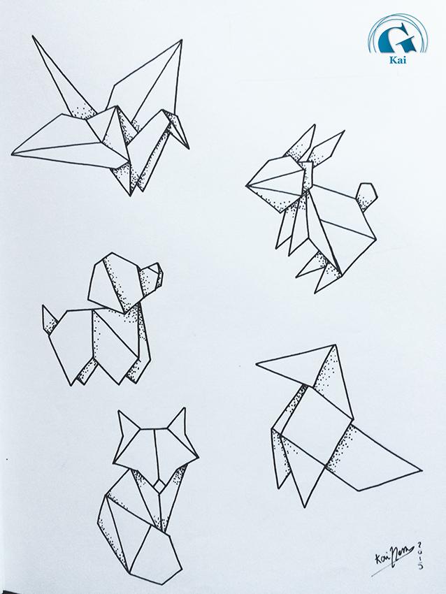 tatouage origami animaux. Black Bedroom Furniture Sets. Home Design Ideas